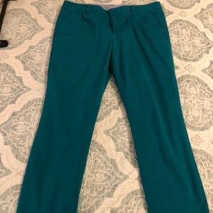 Stylus teal green twill crop pants size 14